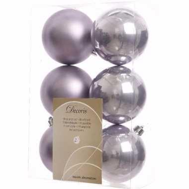 Mystic christmas lilapaarse kerstversiering kerstballen pakket 6 stuk