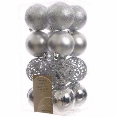 Mystic christmas zilveren kerstversiering kerstballen pakket 16 stuks