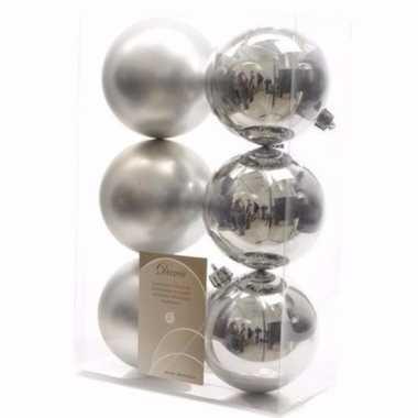 Mystic christmas zilveren kerstversiering kerstballen pakket 6 stuks