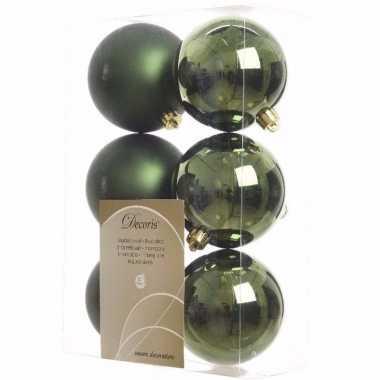 Nature christmas groene kerstversiering kerstballen pakket 6 stuks