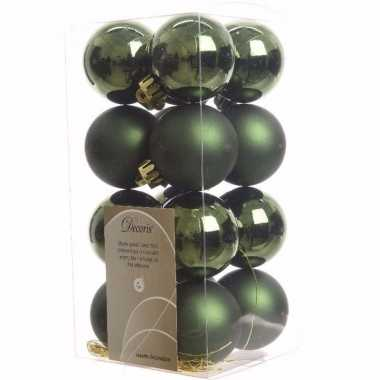 Nature christmas groene kerstversiering kleine kerstballen pakket 16
