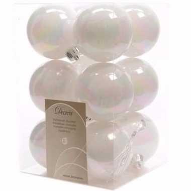 Nature christmas witte kerstversiering kerstballen pakket 12 stuks