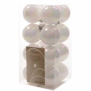 Nature christmas witte kerstversiering kleine kerstballen pakket 16 s