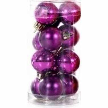 Paarse mini kerstballen 12 stuks