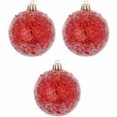 Rode kerstversiering 6x kerstballen rood 8 cm