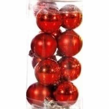 Rode mini kerstballen 12 stuks