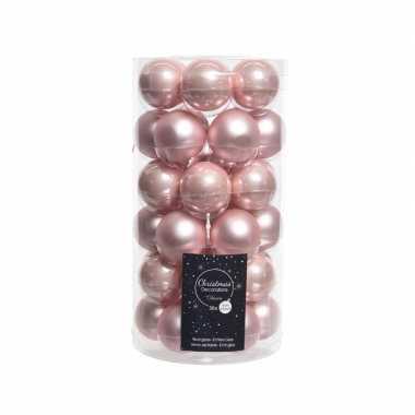 Roze kerstversiering kerstballen glas 4 cm