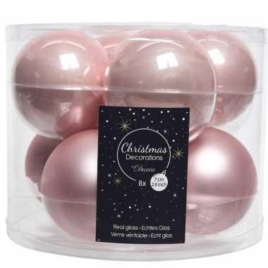 Roze kerstversiering kerstballen glas 7 cm 16 stuks