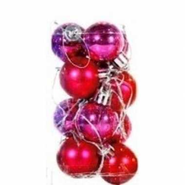 Roze mini kerstballen 12 stuks