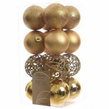 Sweet christmas gouden kerstversiering kerstballen pakket 16 stuks