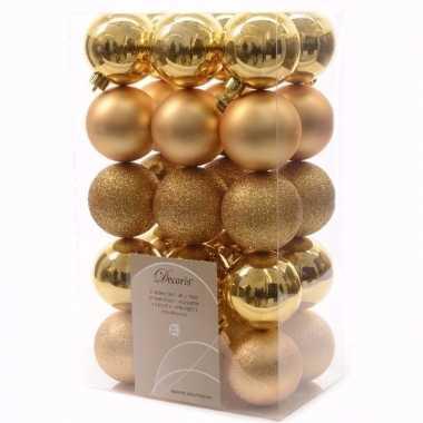 Sweet christmas gouden kerstversiering kerstballen pakket 30 stuks