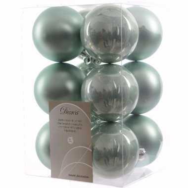Sweet christmas mintgroene kerstversiering kerstballen pakket 12 stuk