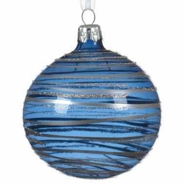 Transparante kerstballen met strepen blauw 8 cm