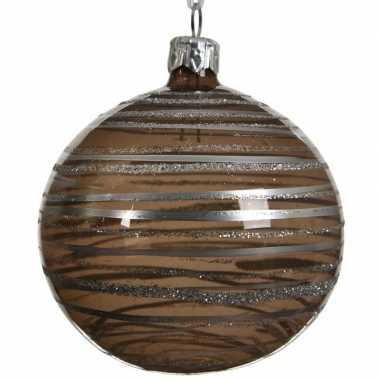 Transparante kerstballen met strepen bruin 8 cm