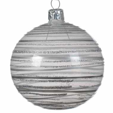 Transparante kerstballen met strepen champagne 8 cm