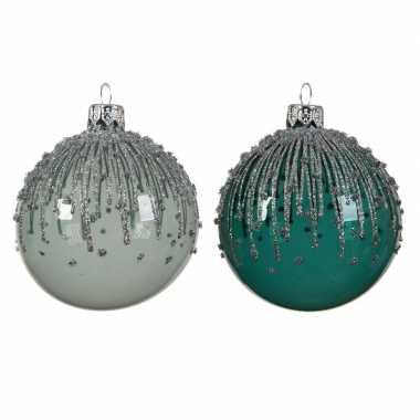 Transparante kerstballen met strepen mint/smaragd 8 cm