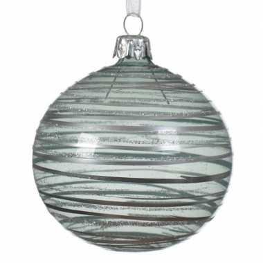 Transparante kerstballen met strepen mintgroen 8 cm