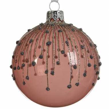 Transparante kerstballen met strepen oud roze 8 cm