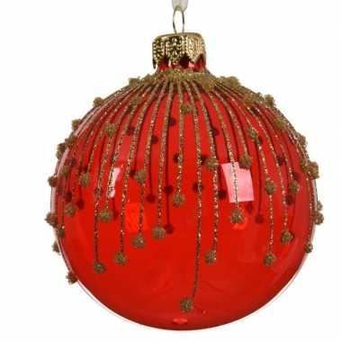 Transparante kerstballen met strepen rood 8 cm