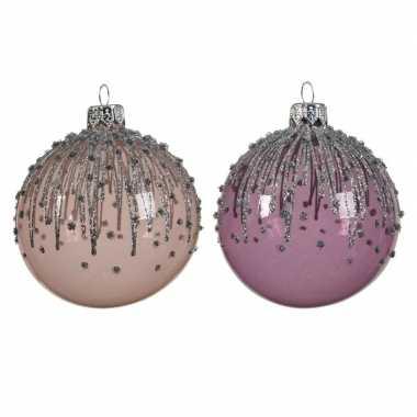 Transparante kerstballen met strepen roze en lila paars 8 cm