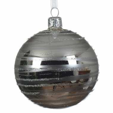 Transparante kerstballen met strepen zilver 8 cm