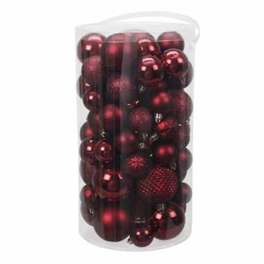 Tube 60x donkerrode kunststof kerstballen 4 -7 cm glans/mat/bewe