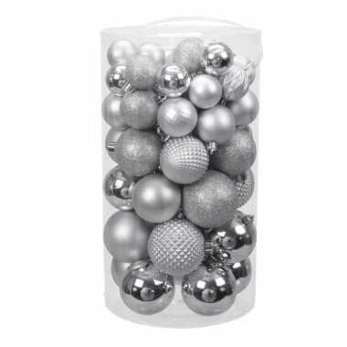 Tube 60x zilveren kunststof kerstballen 4 -7 cm glans/mat/bewerk
