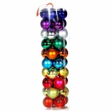 Verschillende kleuren kerstballen 6cm 40 stuks
