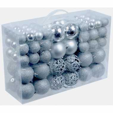 Zilveren plastic kerstballen 100 stuks