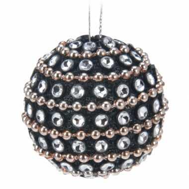 Zwarte kerstballen met diamantjes 3,5 cm 6 stuks