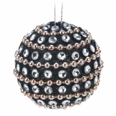 Zwarte kerstballen met diamantjes 3,5 cm 9x
