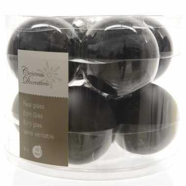 Zwarte kerstversiering kerstballen glas 7 cm