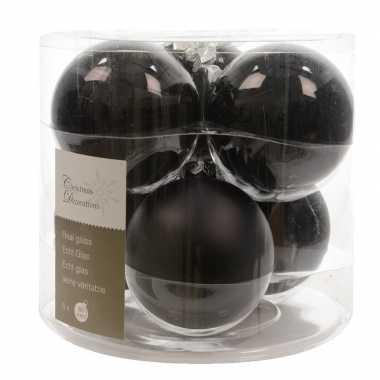 Zwarte kerstversiering kerstballen glas 8 cm 12 stuks