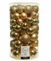 100x gouden kerstballen 4 5 6 7 8 cm glanzende glitter kunststof plastic kerstversiering