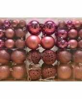 100x kunststof kerstballen roze 3 4 en 6 cm