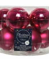 10x bessen roze glazen kerstballen 6 cm glans en mat