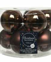 10x donkerbruine glazen kerstballen 6 cm glans en mat