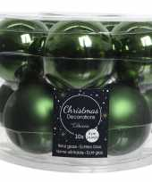 10x donkergroene glazen kerstballen 6 cm glans en mat