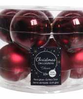 10x donkerrode glazen kerstballen 6 cm glans en mat