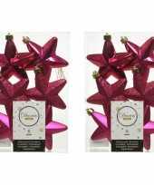 12x bessen roze kunststof sterren kerstballen kersthangers 7 cm