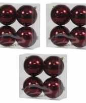12x bordeaux rode kerstballen 12 cm glanzende kunststof plastic kerstversiering