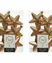12x camel bruine kunststof sterren kerstballen kersthangers 7 cm