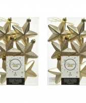 12x champagne kunststof sterren kerstballen kersthangers 7 cm