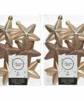 12x donker parel champagne kerstballen 7 cm glanzend matte glitter kunststof plastic kerstversiering