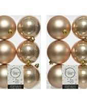 12x donker parel champagne kerstballen 8 cm glanzende matte kunststof plastic kerstversiering