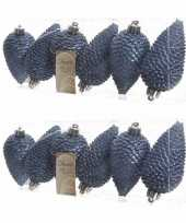 12x donkerblauwe kerstballen 8 cm glitter kunststof plastic kerstversiering