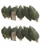 12x donkergroene kerstballen 8 cm glitter kunststof plastic kerstversiering