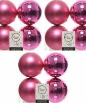 12x fuchsia roze kerstballen 10 cm glanzende matte kunststof plastic kerstversiering
