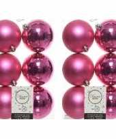 12x fuchsia roze kerstballen 8 cm glanzende matte kunststof plastic kerstversiering