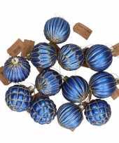 12x glazen kerstballen blauw met goud 8 cm
